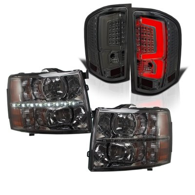 Chevy Silverado 2500HD 2007-2014 Smoked DRL Headlights and LED Tail Lights