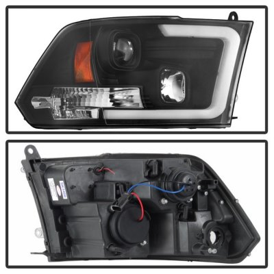 Dodge Ram 2009-2018 Black LED Tube DRL Projector Headlights