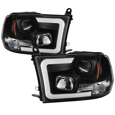 Dodge Ram 3500 2010-2018 Black LED Tube DRL Projector Headlights