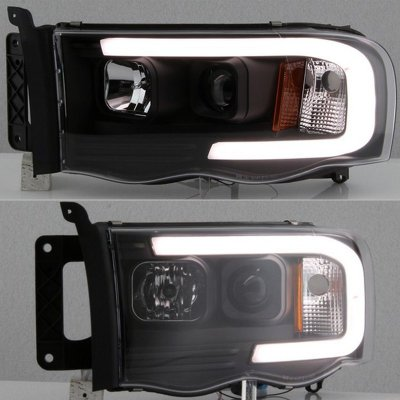 Dodge Ram 2500 2003-2005 Black LED Tube DRL Projector Headlights