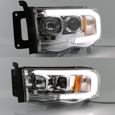 Dodge Ram 2002-2005 LED Tube DRL Projector Headlights