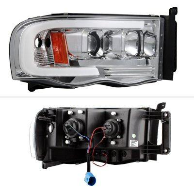 Dodge Ram 3500 2003-2005 LED Tube DRL Projector Headlights