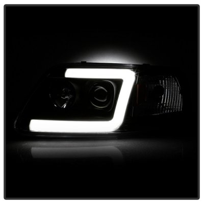 Ford F150 1997-2003 Black Tube DRL Projector Headlights