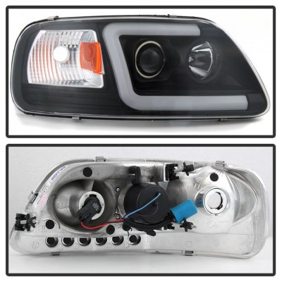 Ford Expedition 1997-2002 Black Tube DRL Projector Headlights