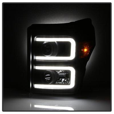 Ford F250 Super Duty 2011-2016 Black LED Tube Projector Headlights DRL