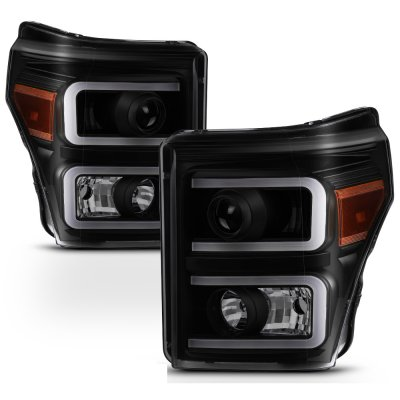 Ford F250 Super Duty 2011-2016 Black Smoked LED DRL Projector Headlights