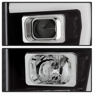 Ford F250 Super Duty 2011-2016 Black DRL Tube Projector Headlights