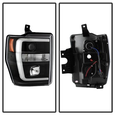 Ford F250 Super Duty 2008-2010 Black Tube DRL Projector Headlights