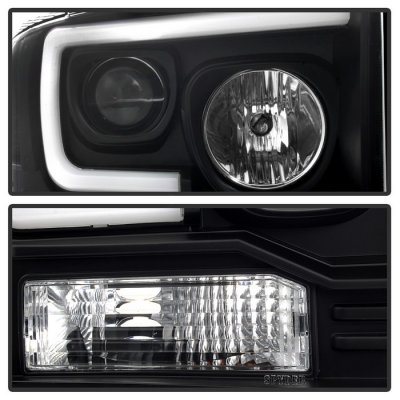Ford F250 Super Duty 2005-2007 Black Tube DRL Projector Headlights