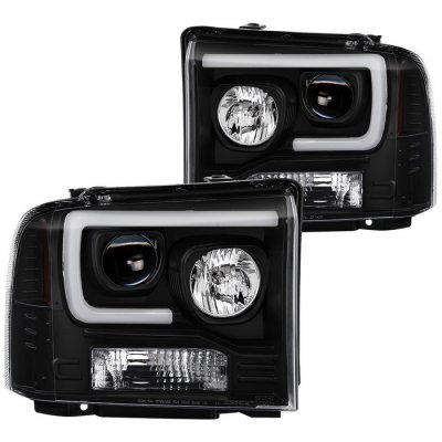 Ford F450 Super Duty 2005-2007 Black Tube DRL Projector Headlights