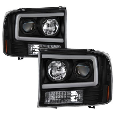 Ford F250 Super Duty 1999-2004 Black Tube DRL Projector Headlights