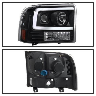 Ford F550 Super Duty 1999-2004 Black Tube DRL Projector Headlights
