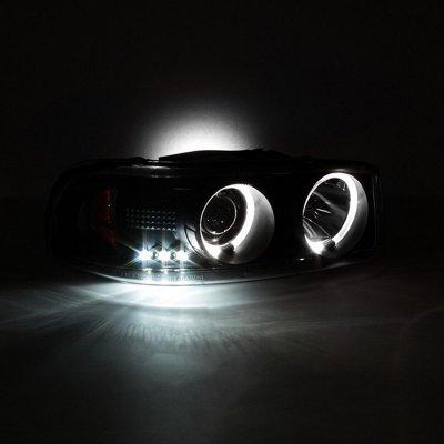 GMC Yukon 2000-2006 Black Smoked Dual Halo Projector Headlights with LED