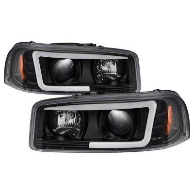 GMC Sierra 1999-2006 Black LED Tube DRL Projector Headlights
