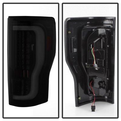 Ford F350 Super Duty 2017-2018 Black Smoked Tube LED Tail Lights