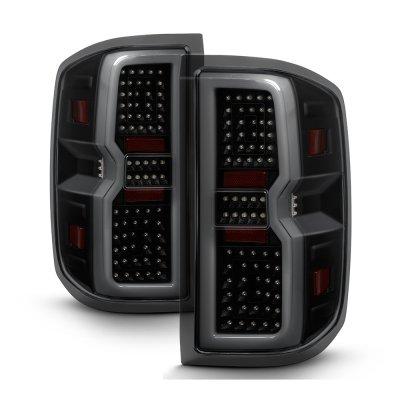 Chevy Silverado 2014-2018 Black Smoked Tube Full LED Tail Lights