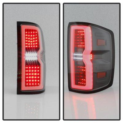 Chevy Silverado 2500HD 2015-2018 Black Smoked Tube Full LED Tail Lights