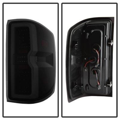 Chevy Silverado 2500HD 2015-2019 Black Smoked Tube Full LED Tail Lights