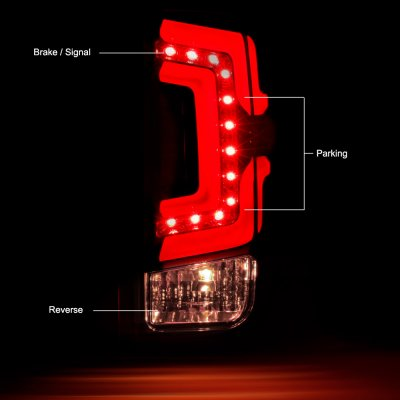 Chevy Silverado 2014-2018 Black Custom LED Tail Lights