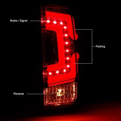 Chevy Silverado 2500HD 2015-2018 Black Smoked Custom LED Tail Lights