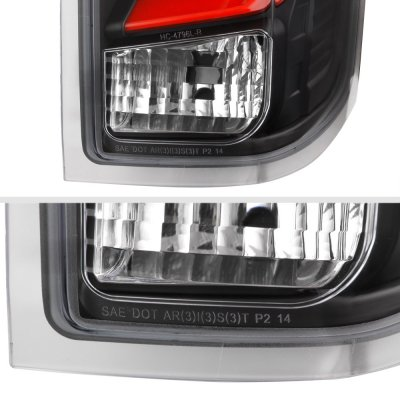 Chevy Silverado 2014-2018 Black Custom LED Tail Lights Red Tube