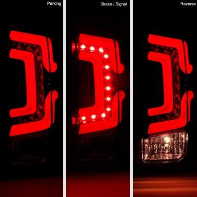Chevy Silverado 2500HD 2015-2019 Black Custom LED Tail Lights Red Tube
