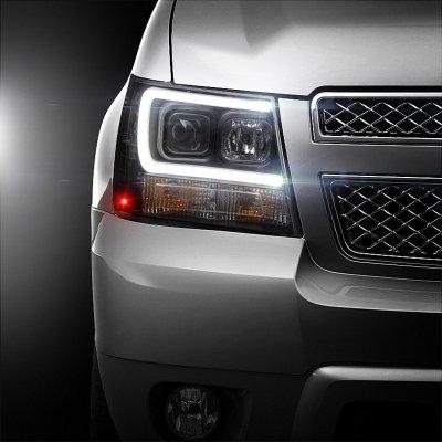 Chevy Suburban 2007-2014 Black LED Tube DRL Projector Headlights