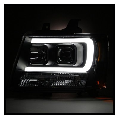 Chevy Suburban 2007-2014 Black LED Tube DRL Projector Headlights