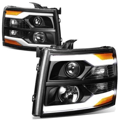 Chevy Silverado 2500HD 2007-2014 Black Facelift DRL Projector Headlights