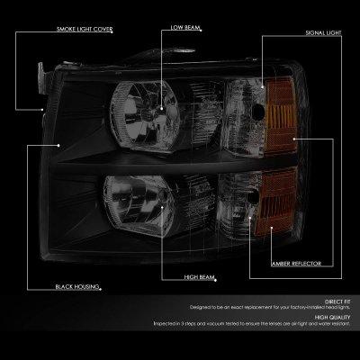 Chevy Silverado 2500HD 2007-2014 Black Smoked Headlights
