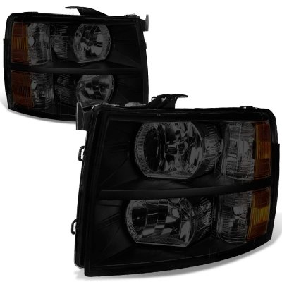 Chevy Silverado 2500HD 2007-2014 Black Smoked Headlights