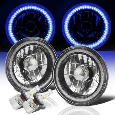 Ford F100 1969-1979 Blue SMD Halo Black Chrome LED Headlights Kit