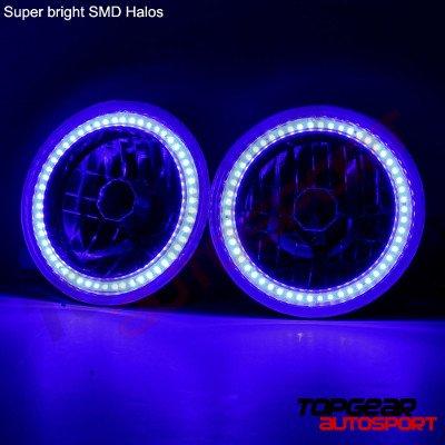 Jeep Wrangler 1997-2006 Blue SMD Halo Black Chrome LED Headlights Kit