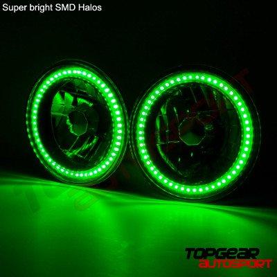Chevy Nova 1971-1978 Green SMD Halo Black Chrome LED Headlights Kit