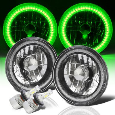 Ford F100 1969-1979 Green SMD Halo Black Chrome LED Headlights Kit