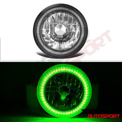 Jeep Wrangler 1997-2006 Green SMD Halo Black Chrome LED Headlights Kit