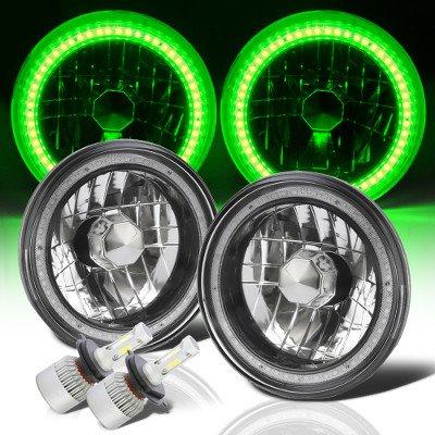 VW Beetle 1971-1979 Green SMD Halo Black Chrome LED Headlights Kit