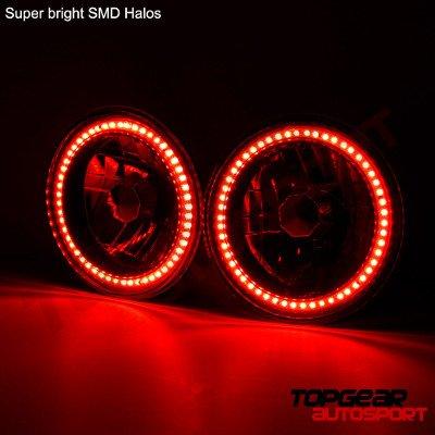 Chevy Suburban 1974-1980 Red SMD Halo Black Chrome LED Headlights Kit