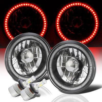 Hummer H1 2002-2006 Red SMD Halo Black Chrome LED Headlights Kit