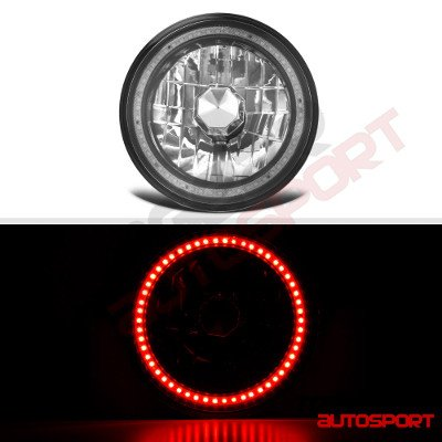 Jeep Wrangler 1997-2006 Red SMD Halo Black Chrome LED Headlights Kit
