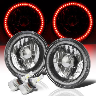 Mazda Miata 1990-1997 Red SMD Halo Black Chrome LED Headlights Kit