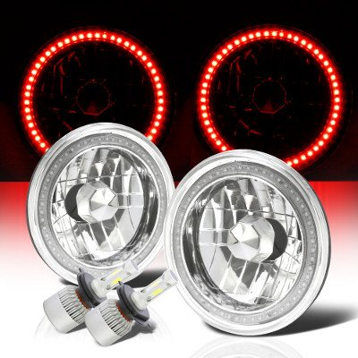 Jeep Wrangler 1997-2006 Red SMD Halo LED Headlights Kit