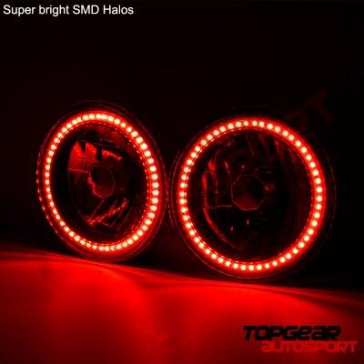 Jeep Wrangler 1997-2006 Red SMD Halo LED Headlights Kit
