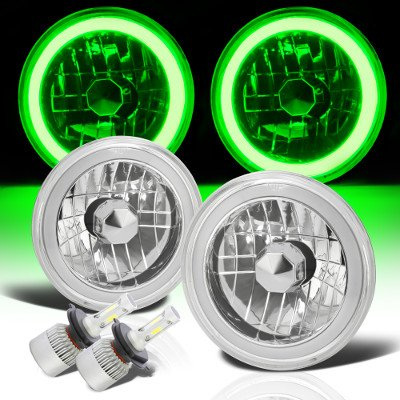 Jeep Wrangler 1997-2006 Green Halo Tube LED Headlights Kit