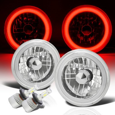 Jeep Wrangler 1997-2006 Red Halo Tube LED Headlights Kit