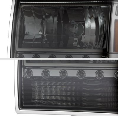 Ford Ranger 1989 1992 Smoked Euro Headlights With Led Daytime Running Lights