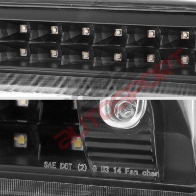 Chevy Silverado 2014-2018 Black Full LED Third Brake Light Cargo Light