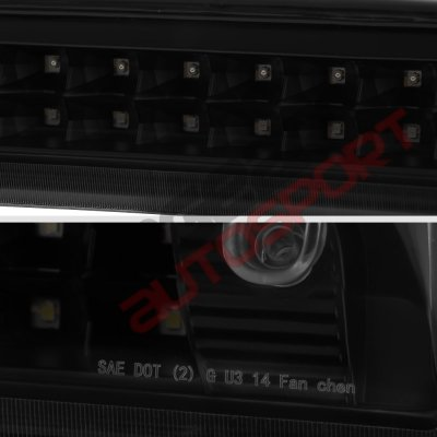 GMC Sierra 3500HD 2015-2018 Black Smoked Full LED Third Brake Light Cargo Light