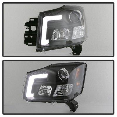 Nissan Titan 2004-2015 Black LED Tube DRL Projector Headlights