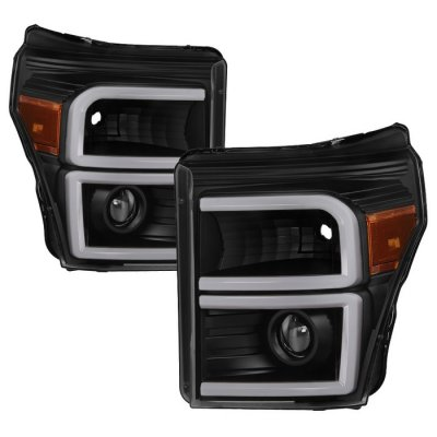 Ford F250 Super Duty 2011-2016 Black LED Tube DRL Projector Headlights